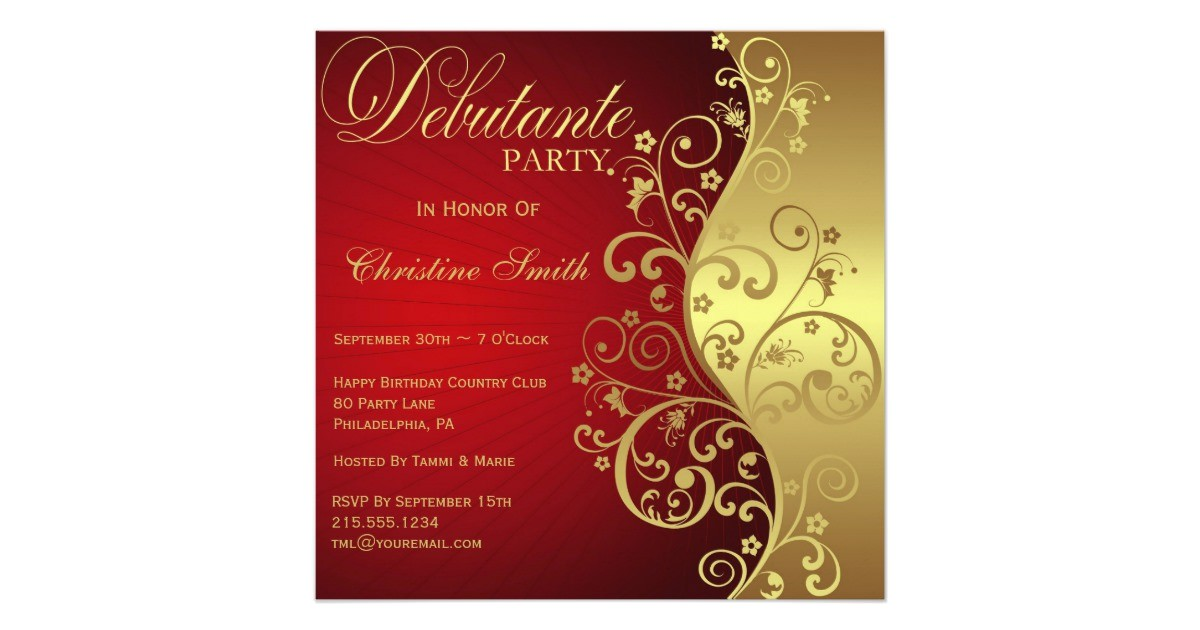 red gold debutante party invitation 161792338236865487