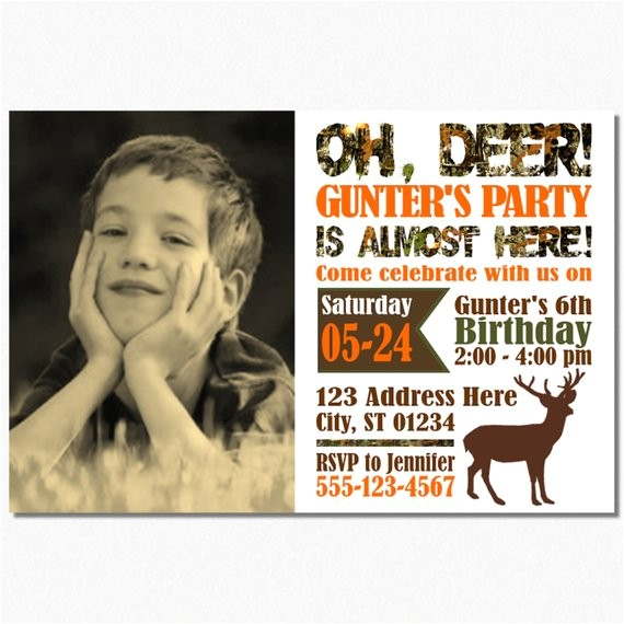 deer hunting birthday invitation camo
