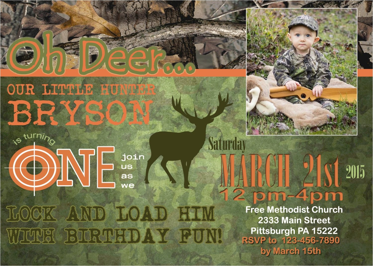 deer hunting theme birthday invitation