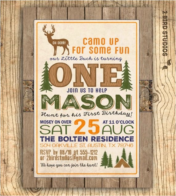 Deer Hunting Party Invitations Hunting Birthday Invitation Deer Invitation 1st Birthday