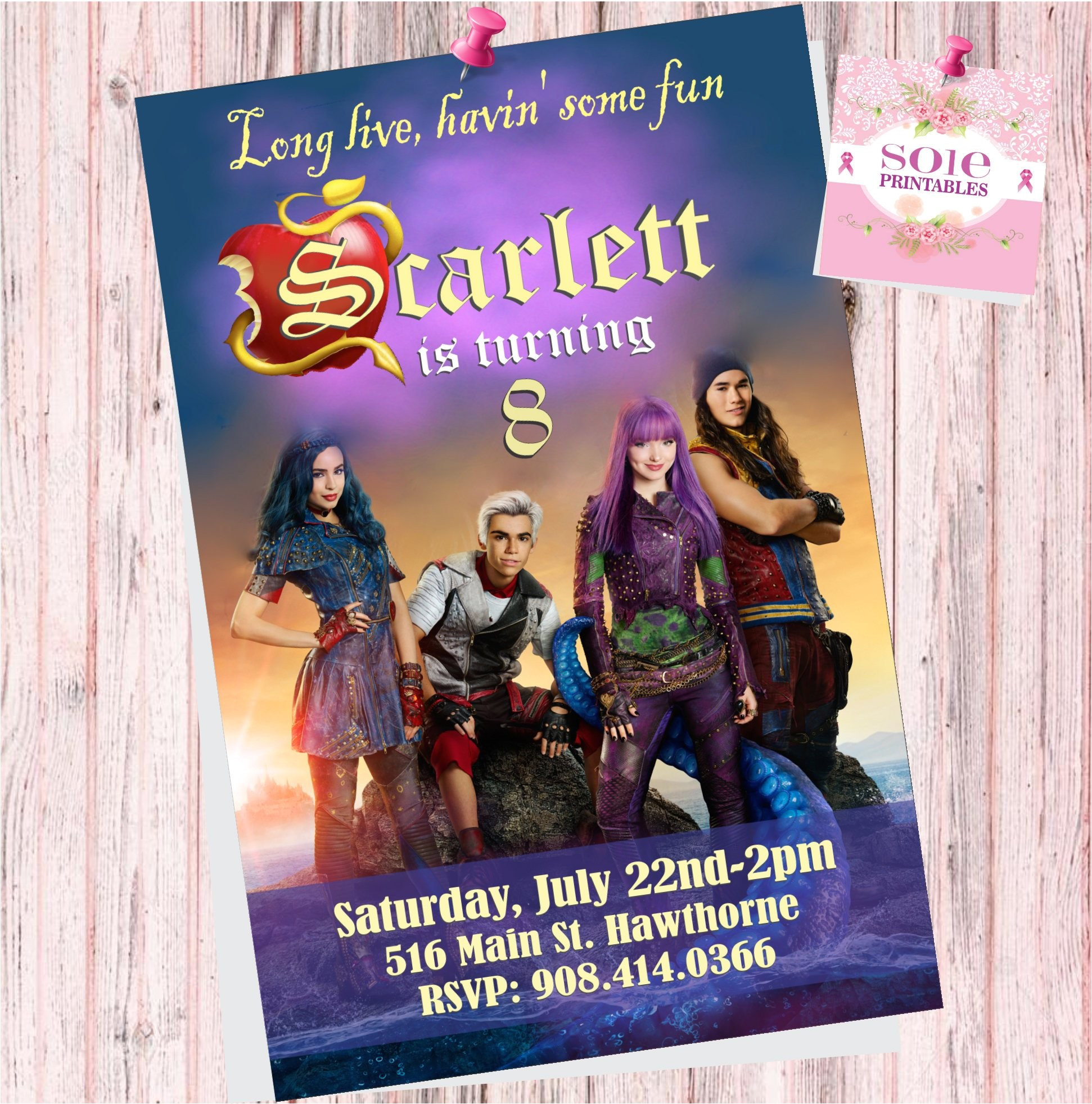 descendants 2 theme invitation card