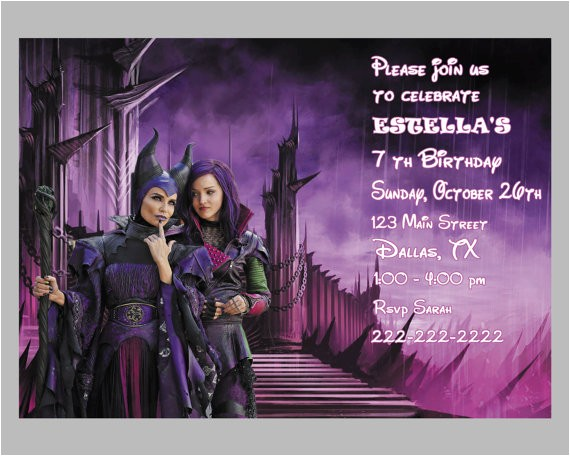 disney descendants birthday party invitations