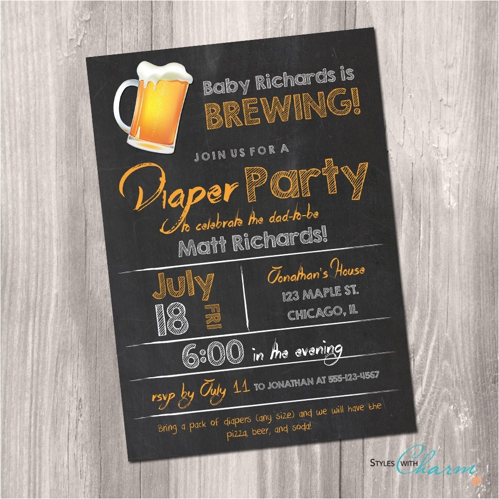 diaper party invitation beer and diaper