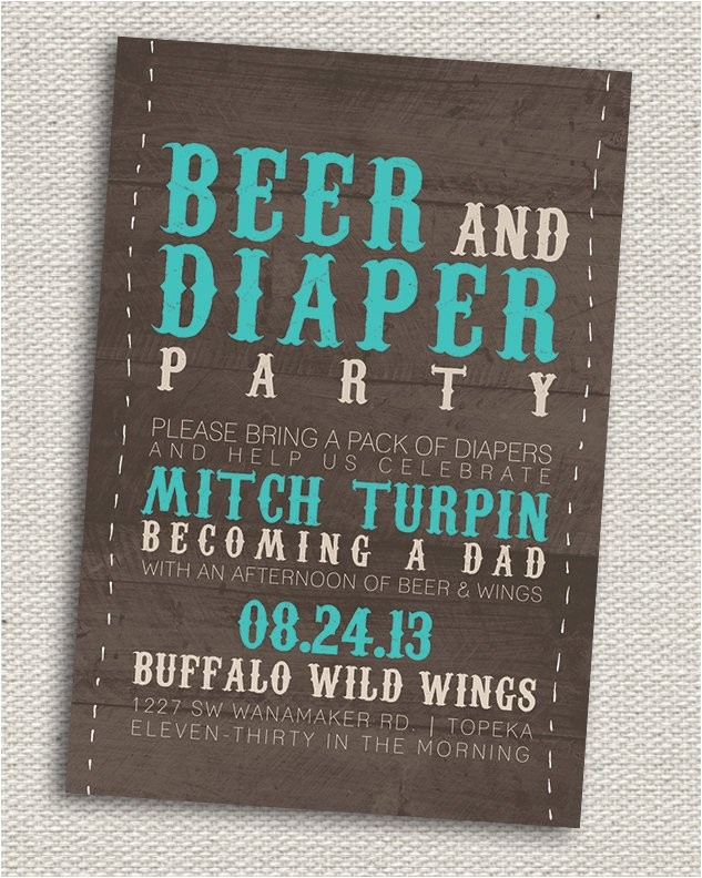 rustic beer diaper party invitation