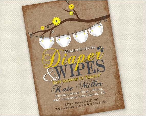 baby shower invitation diaper and wipes