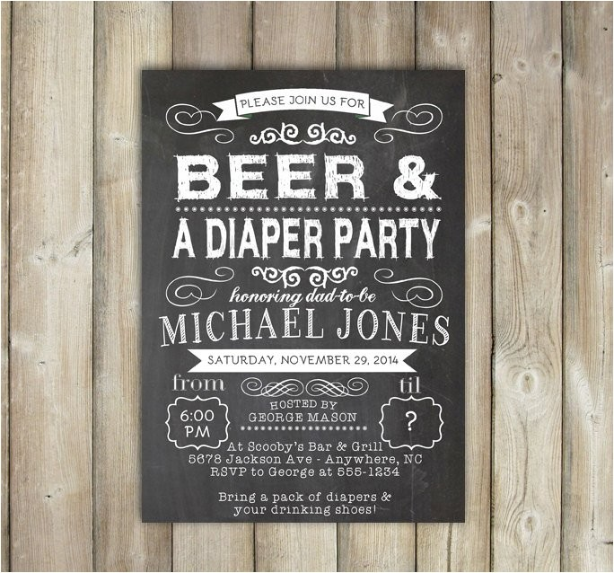 beer and diaper party invitation diaper
