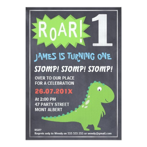 boys dinosaur chalkboard 1st birthday invitation 256579368058362738