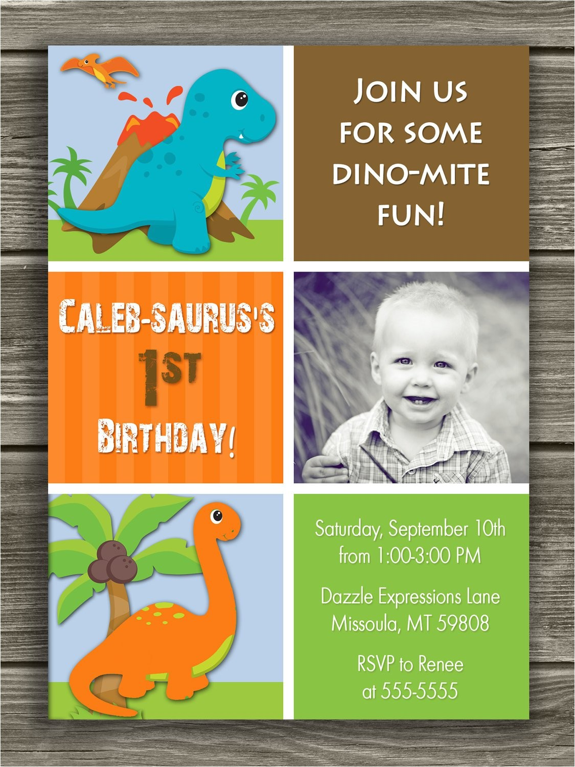 dinosaur 1st birthday invitations
