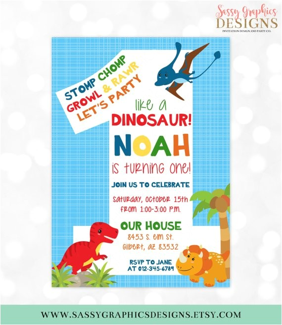dinosaur birthday invitation dino party 1st