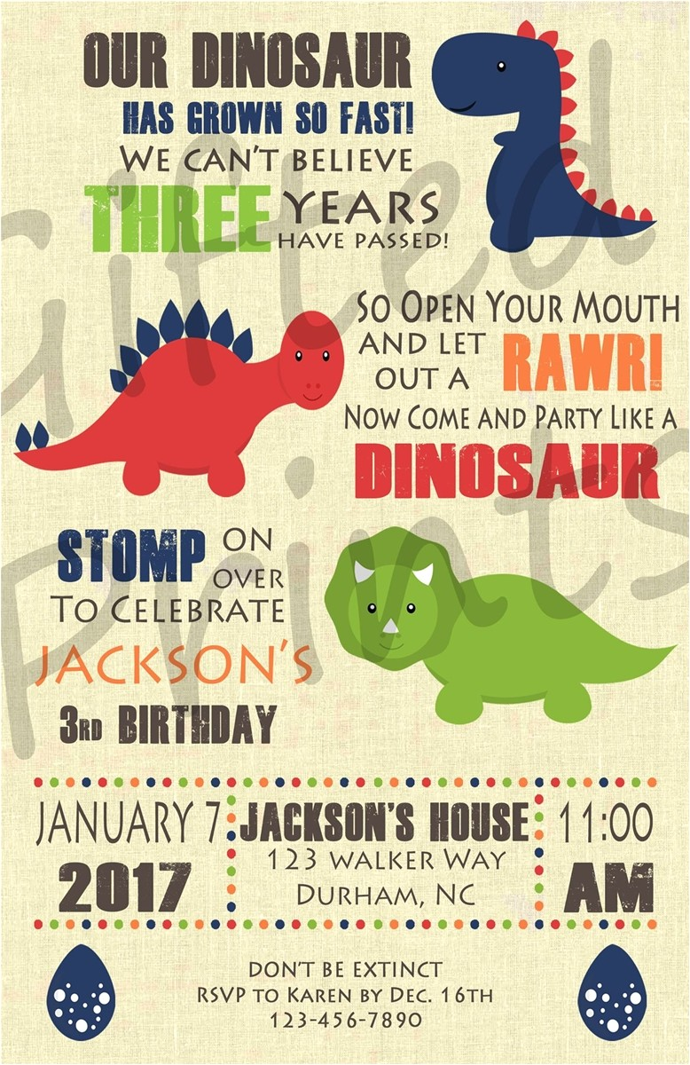 Dinosaur themed Party Invitations Birthday Invitation Dinosaur theme