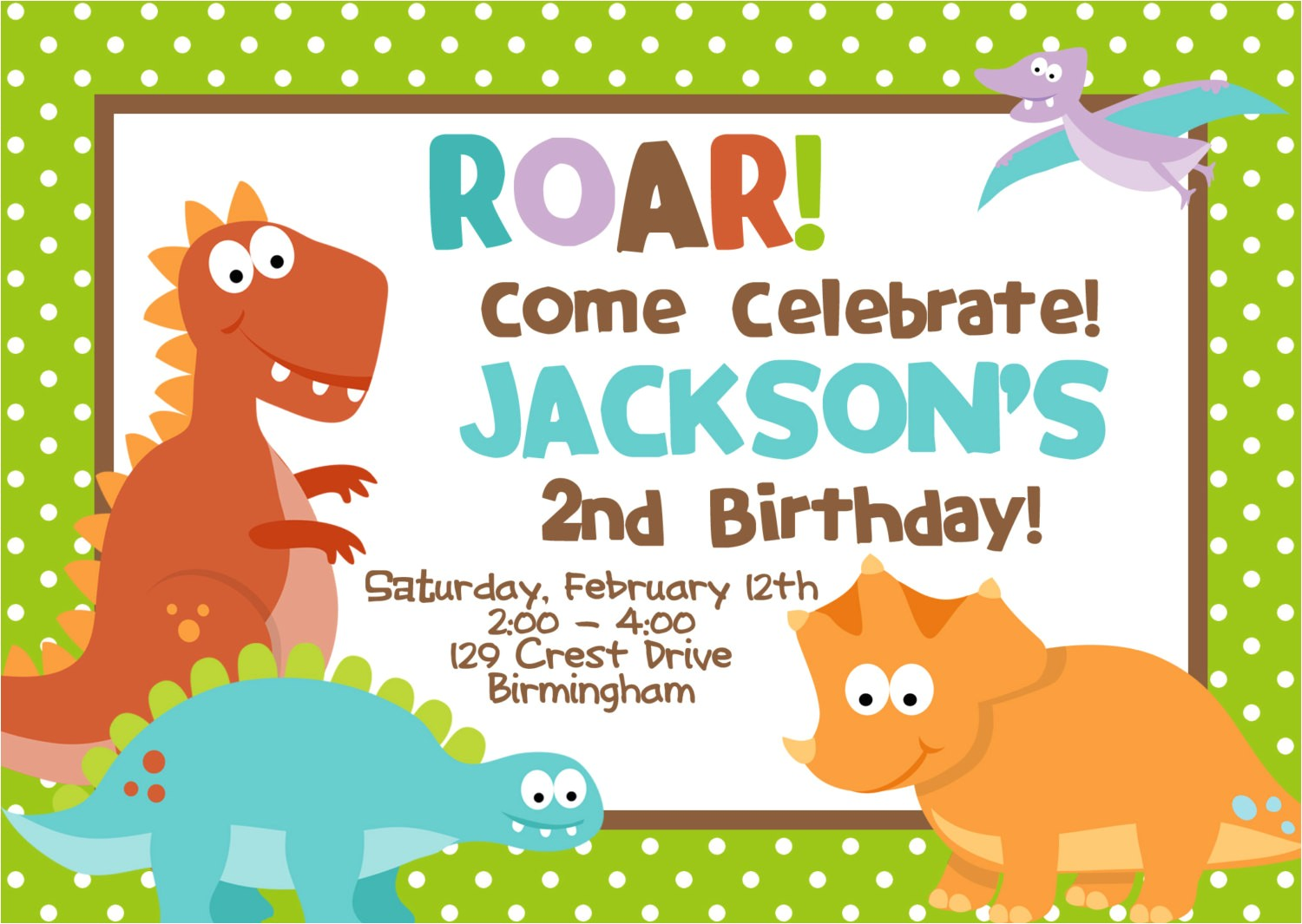 cretaceous dinosaur birthday party invitations