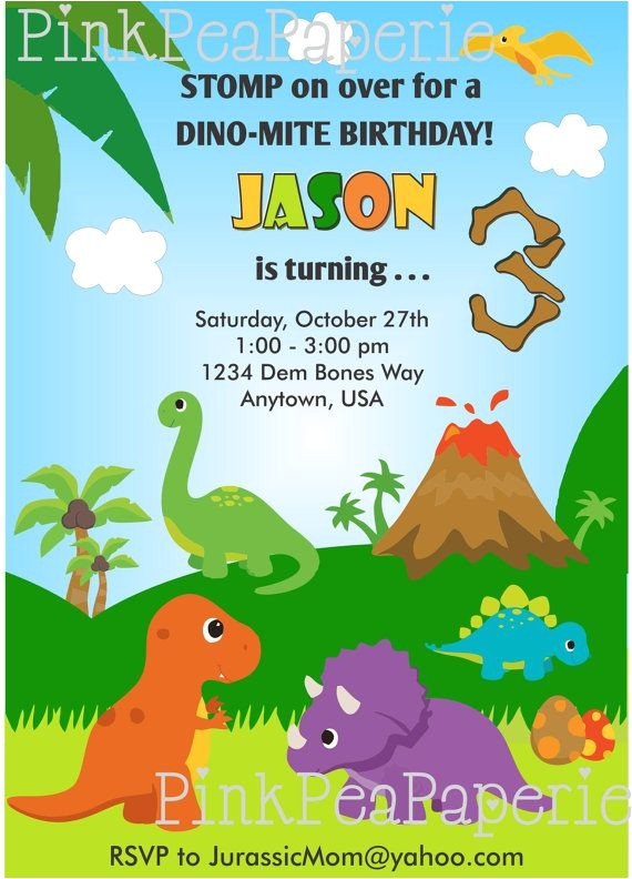 custom dinosaur invitation