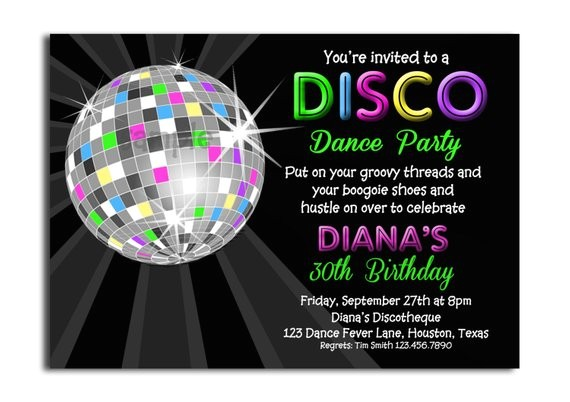 disco ball neon invitation printable or