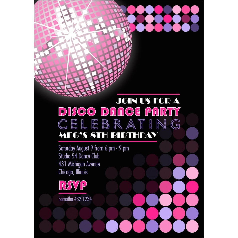 disco dance party printable invitation