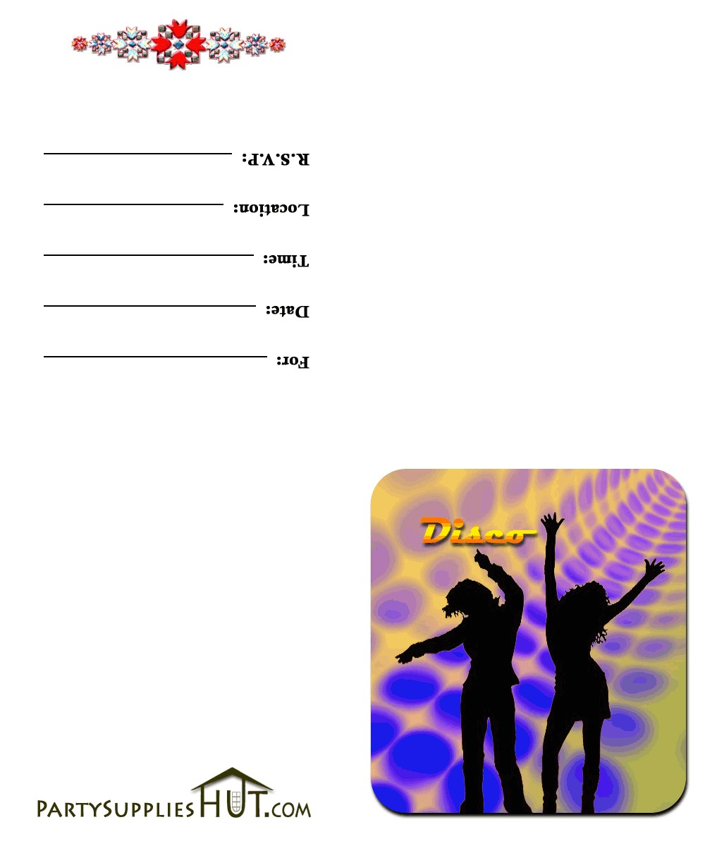 printable disco party invitation