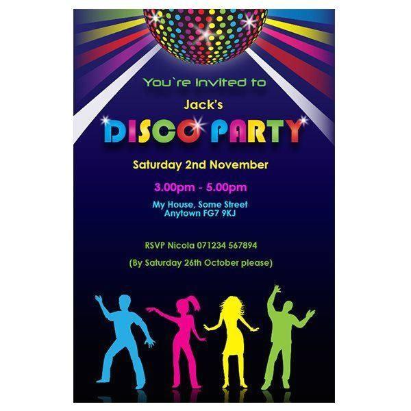 disco theme party invitations