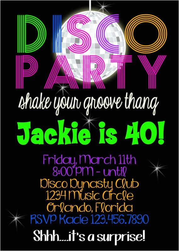 disco party birthday 5x7 invitation printable