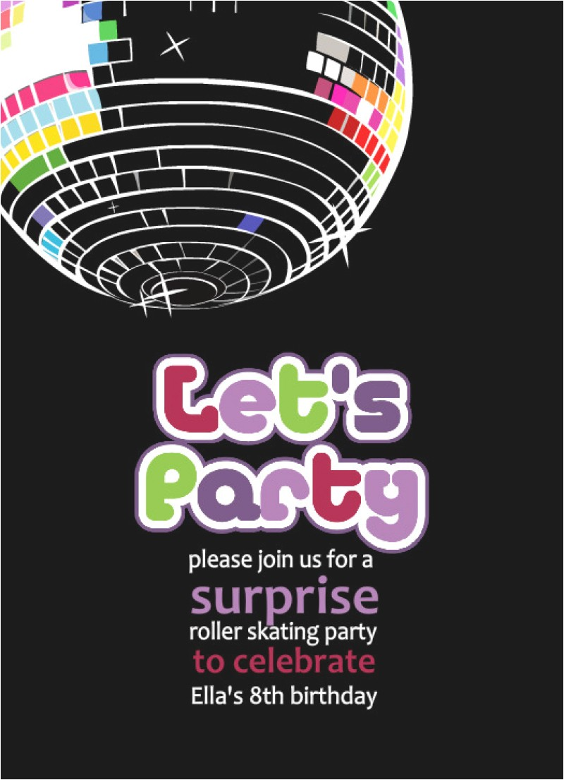 free printable disco party invitation