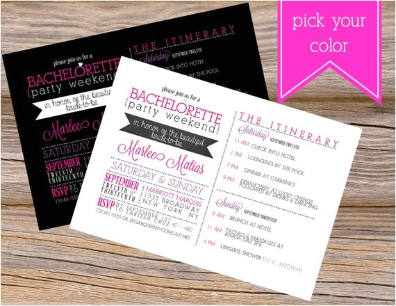 Diy Bachelorette Party Invitations Bachelorette Party Weekend Wedding Invitation Diy by
