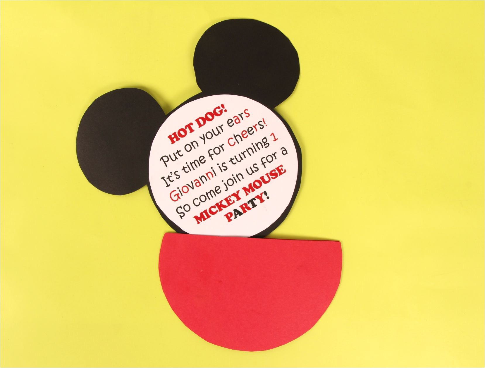 diy mickey mouse party invitation idea