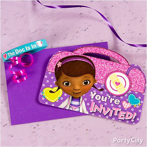 pi doc mcstuffins invite with favor idea