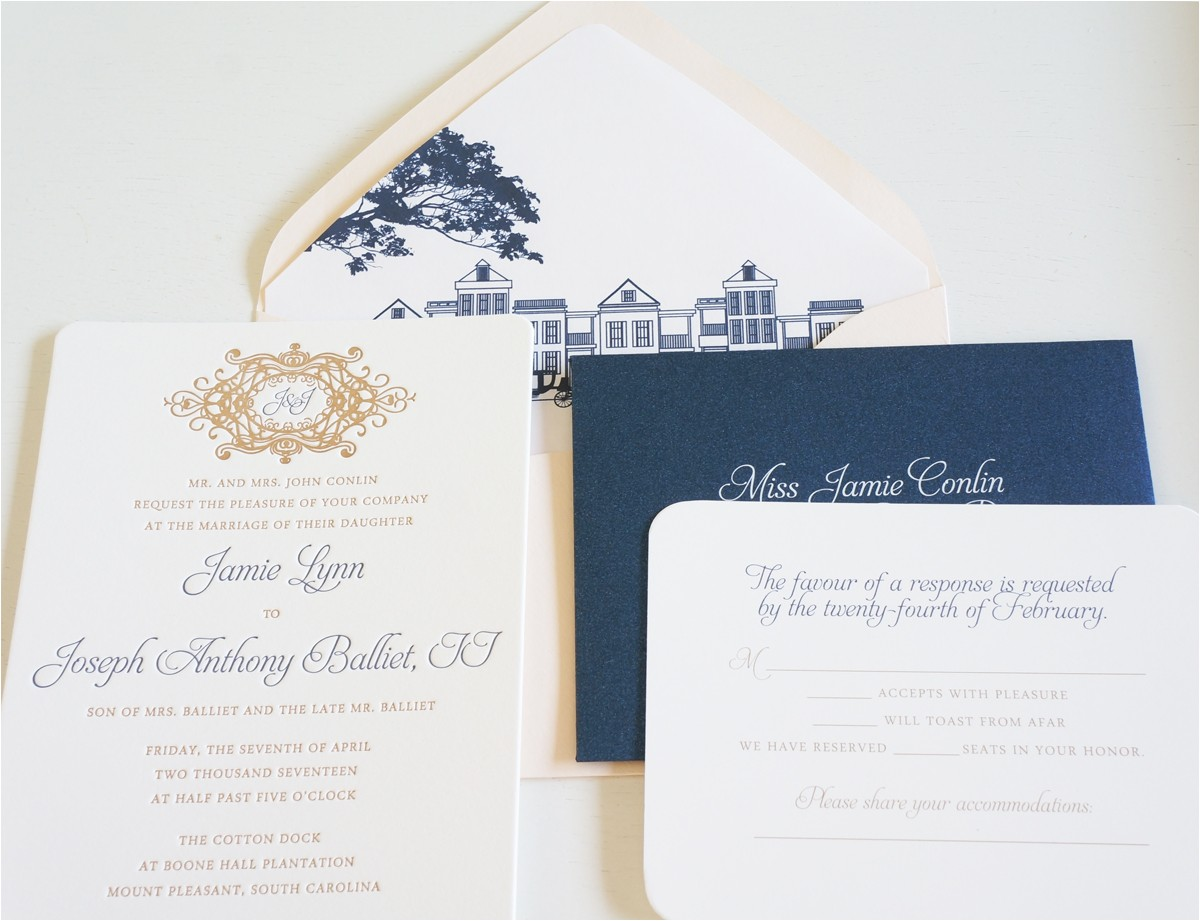 cotton dock wedding invitation