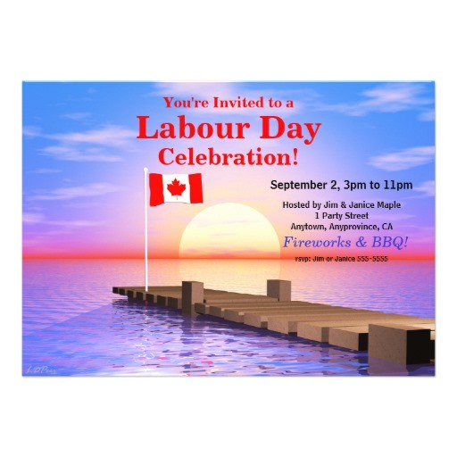 labour day party canadian flag on dock invitation 161219494048118526