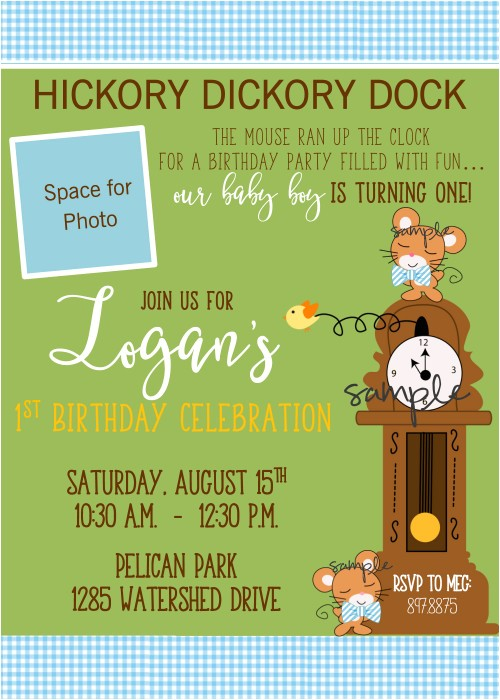 nursery rhyme hickory dickory dock first birthday invitation for boy