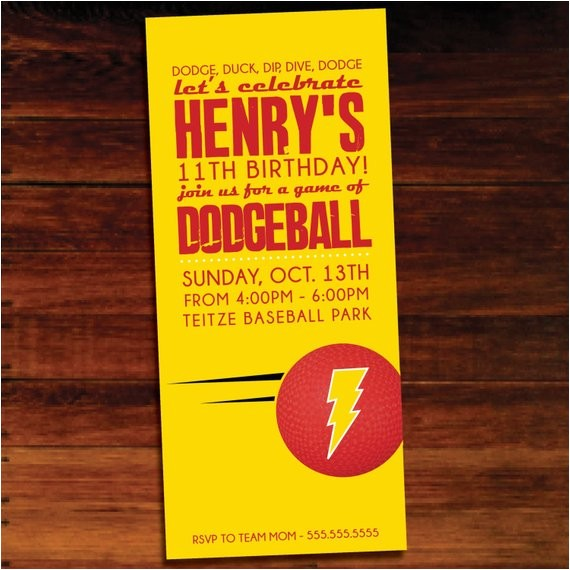dodgeball invitations set of 12