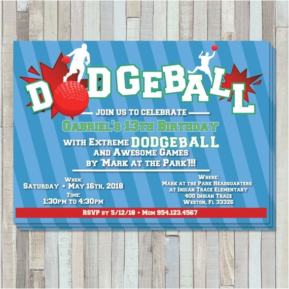 dodgeball party birthday invite