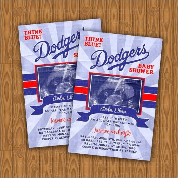 dodgers baby shower invitations all star