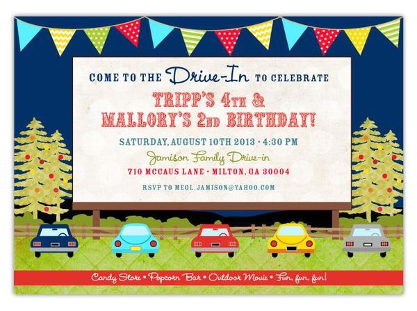 drive in movie birthday invitations a