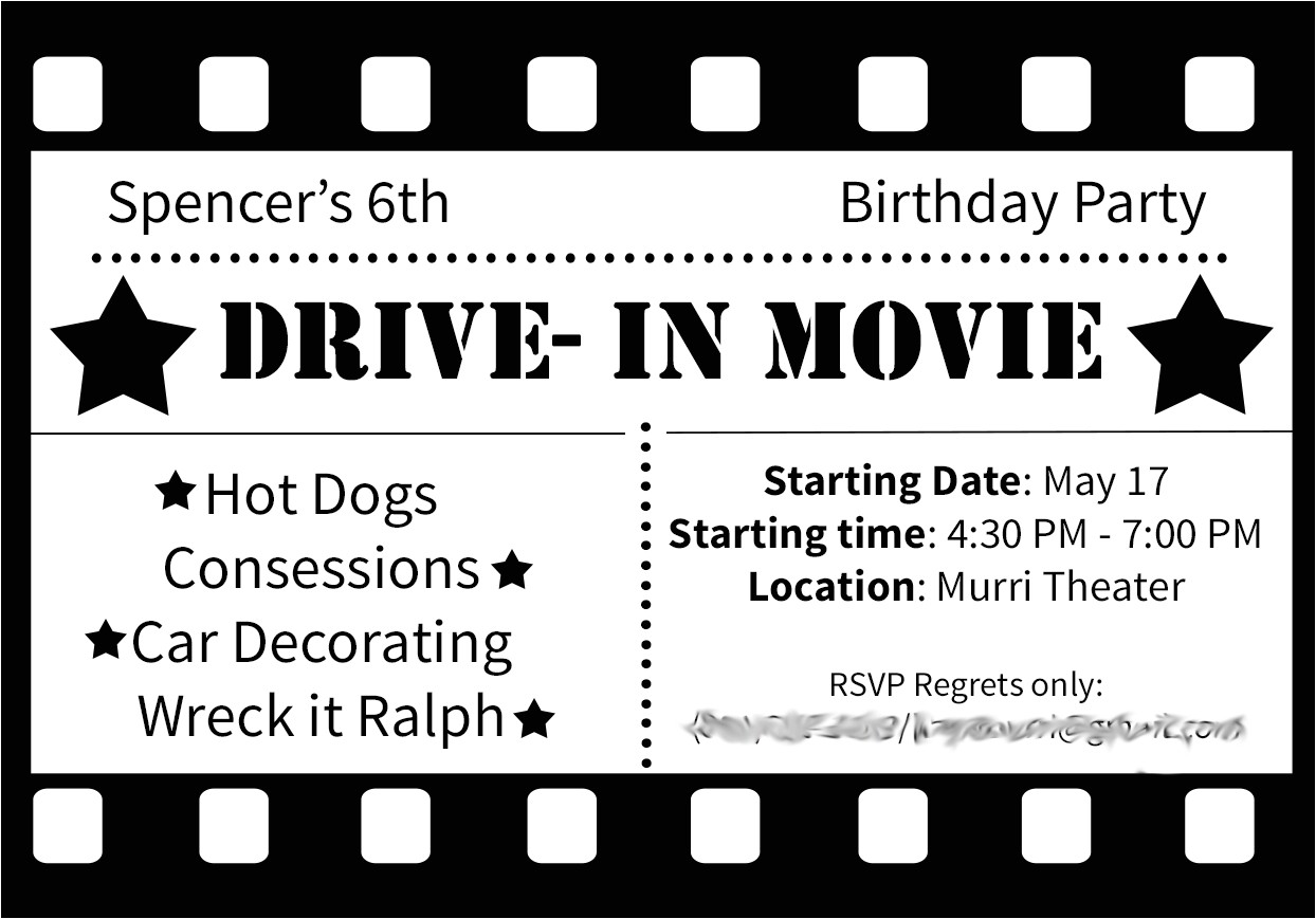 drive in movie birthday party ideas
