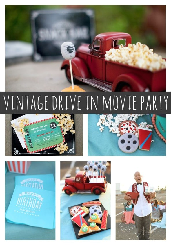 vintage drive in movie party