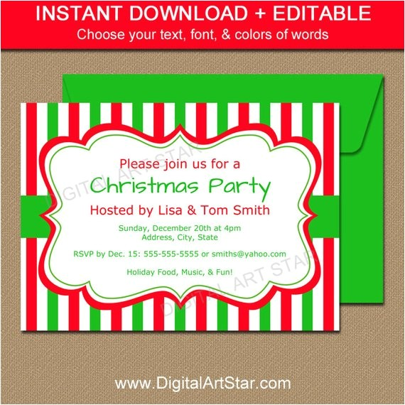 christmas invitation template editable