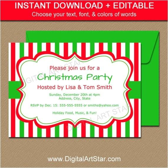 christmas invitation template editable