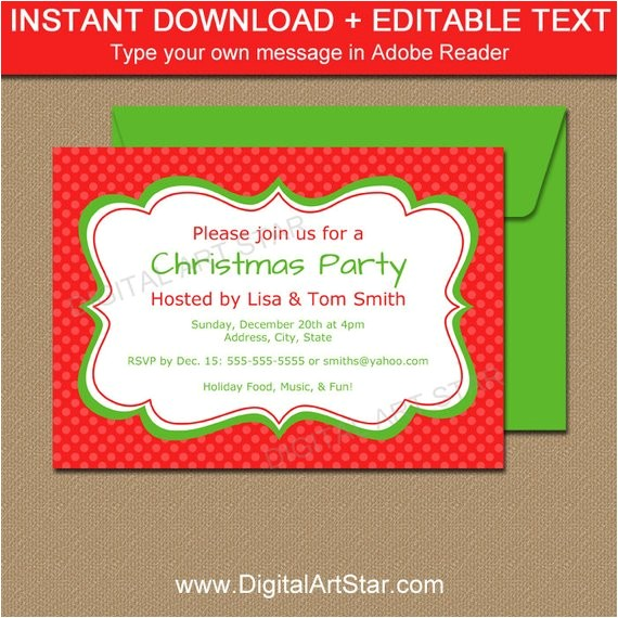 Editable Holiday Party Invitation Editable Christmas Invitation Holiday Invitation
