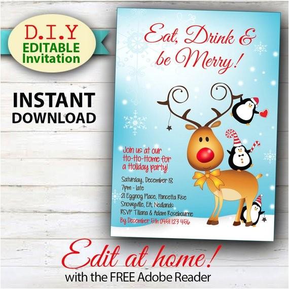 editable christmas invitation rudolph