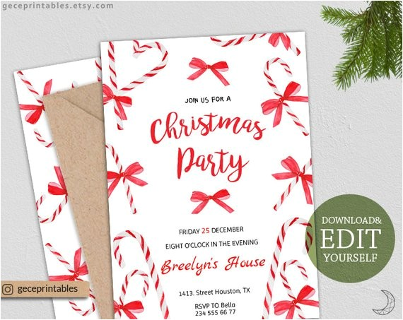 editable christmas party invitation holiday party