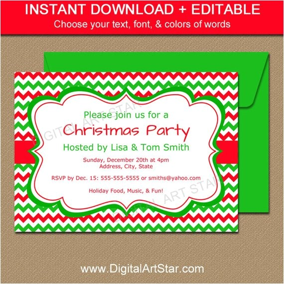editable holiday invitation template red