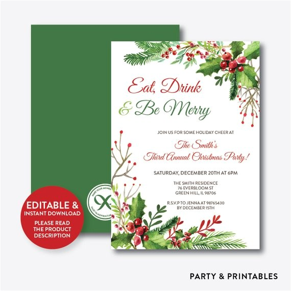 instant download editable christmas holiday invitation 8