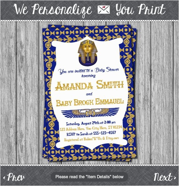 egyptian baby shower invitation egyptian theme 4