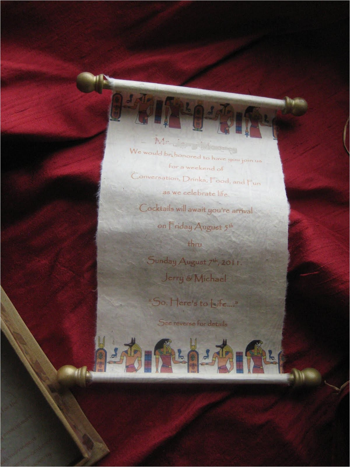 ancient egyptian themed box invitation