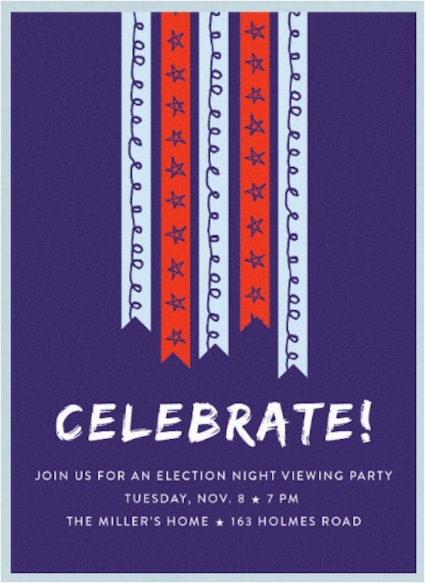 cool digital election night party invitations