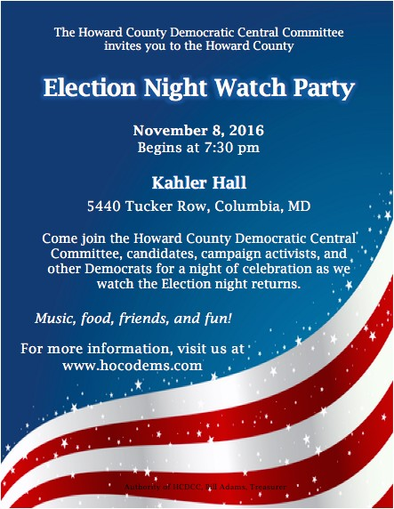 Election Party Invitations Election Night Watch Party at Kahler Hall Howard County