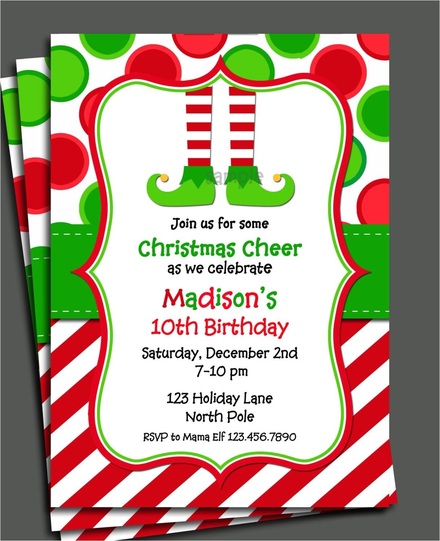 Elf Birthday Party Invitations Christmas Elf Invitation Printable Christmas Birthday