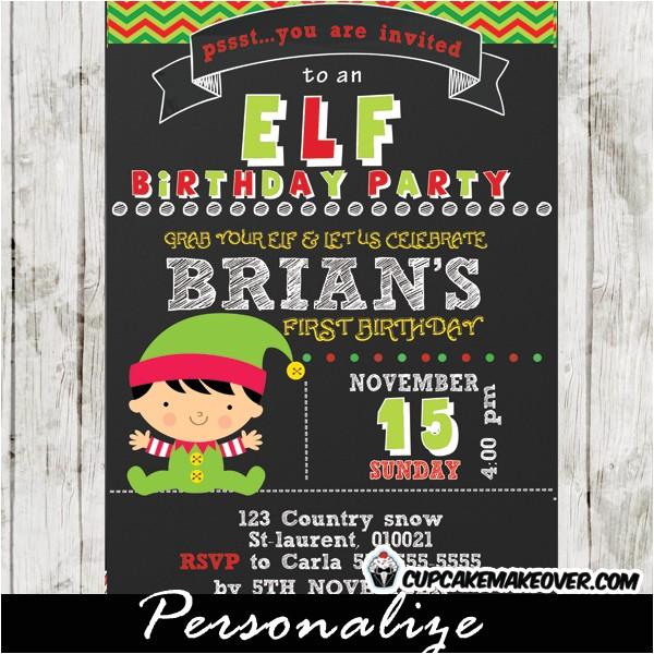 christmas little elf boy birthday invitation chalkboard personalized d3