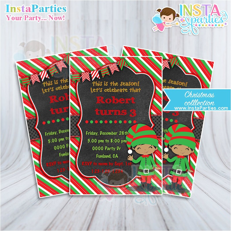 elf boy invitation invitations christmas birthday party digital printable file 4x6 brown skin african american