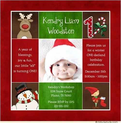 photo christmas elf birthday invitation