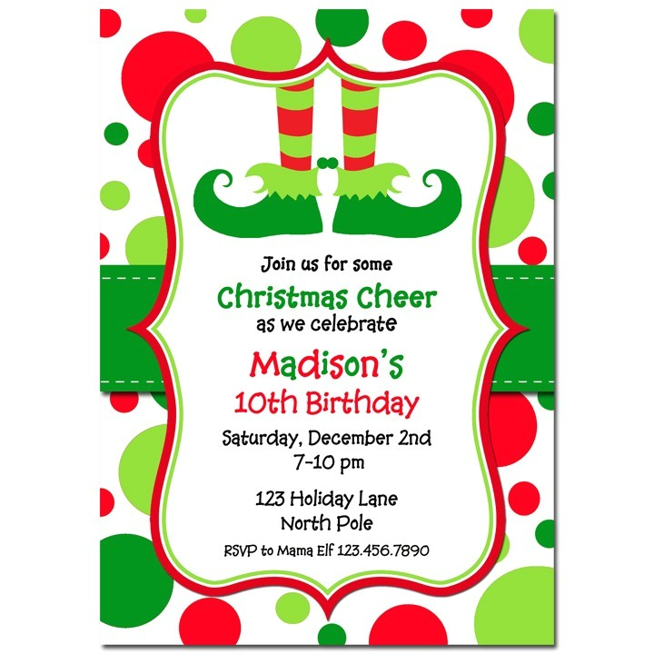 elf feet dots invitation